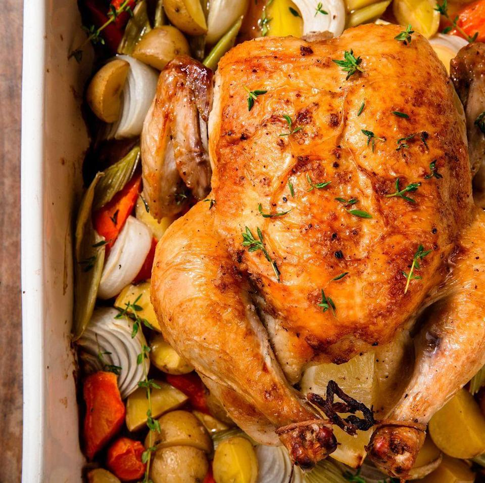 """<p>Intimidated by a whole chicken? Don't be! It's surprisingly easy to make, and there's nothing better than roast chicken leftovers. Great on salads and in sandwiches.</p><p>Get the <a href=""""https://www.delish.com/uk/cooking/recipes/a28926109/classic-roast-chicken-recipe/"""" rel=""""nofollow noopener"""" target=""""_blank"""" data-ylk=""""slk:Classic Roast Chicken"""" class=""""link rapid-noclick-resp"""">Classic Roast Chicken</a> recipe. </p>"""