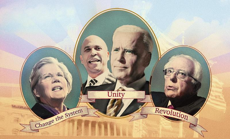 Warren the Fighter, Booker and Biden the Uniters, and Bernie the Revolutionary. (Photo: Illustration: HuffPost; Photos: Getty)
