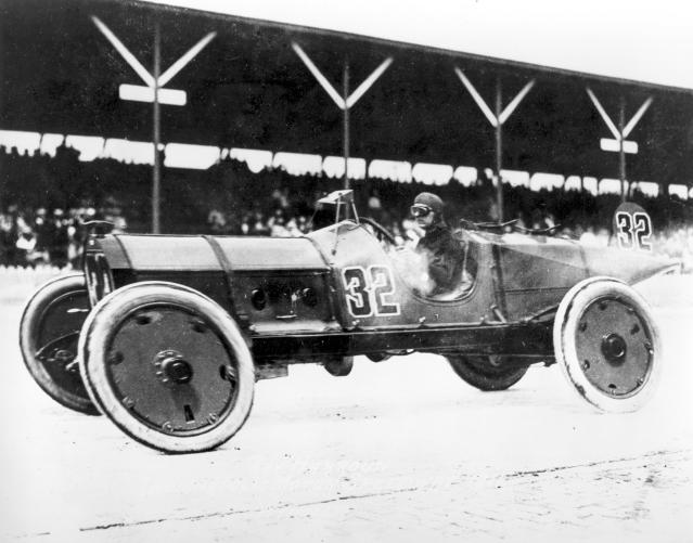FILE - In this May 30, 1911, file photo, Ray Harroun wheels his No. 32 Marmon Wasp race car to victory in the inaugural Indianapolis 500-mile race, called the International 500 Mile Sweepstakes, at Indianapolis Motor Speedway in Indianapolis, Ind. The Indianapolis 500 scheduled for May 24 has been postponed until August because of the coronavirus pandemic and won't run on Memorial Day weekend for the first time since 1946. The race will instead be held Aug. 23. The Indianapolis 500 began in 1911. (AP Photo/File)