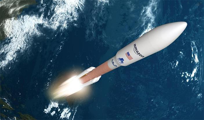 An artist's impression of a United Launch Alliance Atlas 5 taking off carrying a batch of Amazon's Kuiper internet relay satellites. ULA announced Monday that Amazon has secured nine Atlas 5 flights for the Kuiper initiative. / Credit: United Launch Alliance