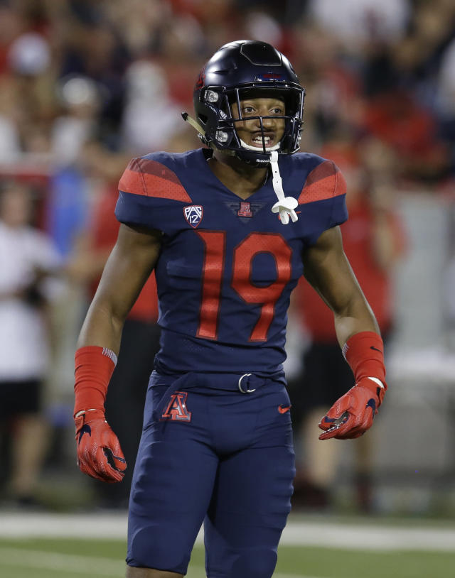Arizona safety Scottie Young Jr. (19) in the second half during an NCAA college football game against Utah, Friday, Sept. 22, 2017, in Tucson, Ariz. Utah defeated Arizona 30-24. (AP Photo/Rick Scuteri)