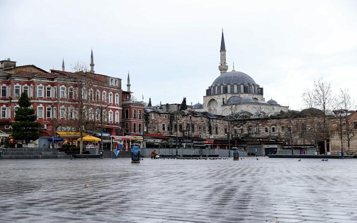 Eminonu district remains nearly empty following a nationwide curfew spanning the traditional New Year's holiday in Turkey - Anadolu Agency