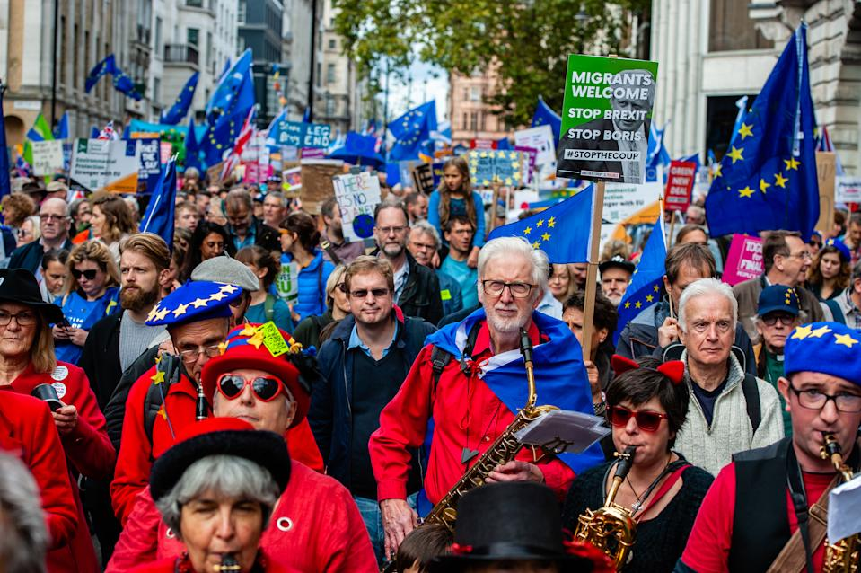 Anti-Brexit protesters rally in central London on Saturday (Picture: Getty)