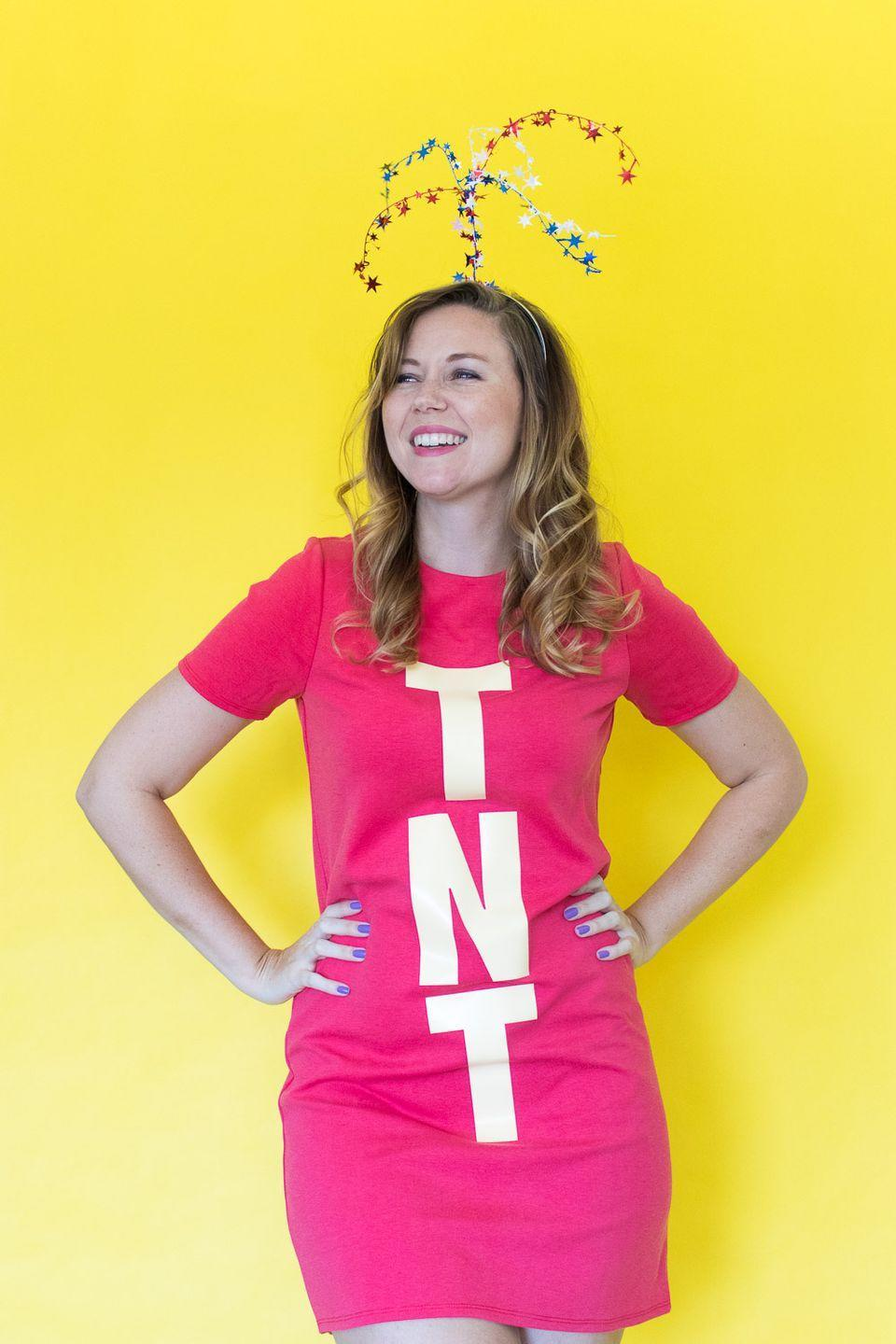 """<p>Quick and easy is the name of the game with this DIY dynamite costume.</p><p><strong>Get the tutorial at <a href=""""https://www.clubcrafted.com/no-sew-pacman-costume-halloween/"""" rel=""""nofollow noopener"""" target=""""_blank"""" data-ylk=""""slk:Club Crafted"""" class=""""link rapid-noclick-resp"""">Club Crafted</a>.</strong></p><p><a class=""""link rapid-noclick-resp"""" href=""""https://www.amazon.com/POPYOUNG-Womens-Casual-Summer-Dresses/dp/B07TML7VM8/ref=sr_1_2_sspa?tag=syn-yahoo-20&ascsubtag=%5Bartid%7C10050.g.23785711%5Bsrc%7Cyahoo-us"""" rel=""""nofollow noopener"""" target=""""_blank"""" data-ylk=""""slk:Shop Red Dresses"""">Shop Red Dresses</a></p>"""