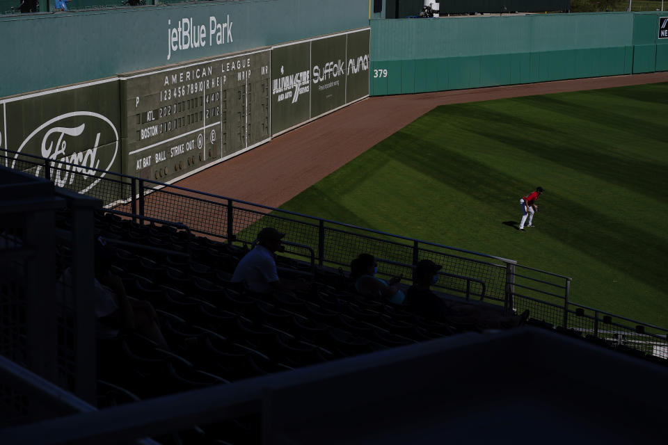 A Boston Red Sox's player gets ready for a play in the fifth inning during a spring training baseball game against the Atlanta Braves on Monday, March 1, 2021, in Fort Myers, Fla. (AP Photo/Brynn Anderson)
