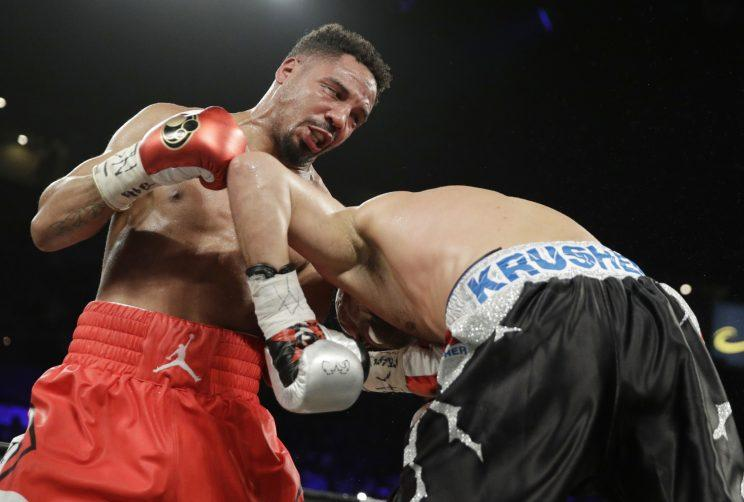 Andre Ward (L) landed several questionable low blows over the course of his win over Sergey Kovalev. (AP)