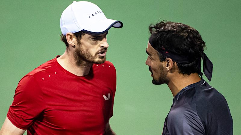 Andy Murray getting angry at Fabio Fognini after a point at the Shanghai Rolex Masters.
