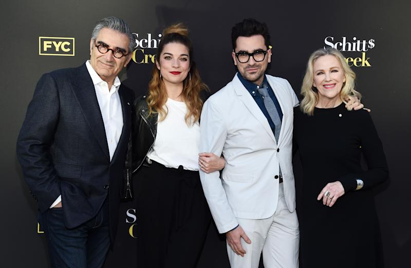 (From left to right) Eugene Levy, , Daniel Levy, Catherine O'Hara