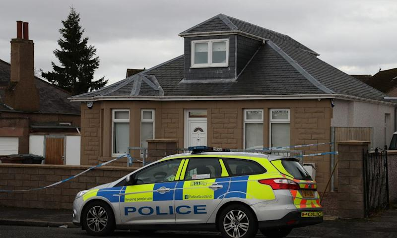 Police outside the Edinburgh property where the attack took place.