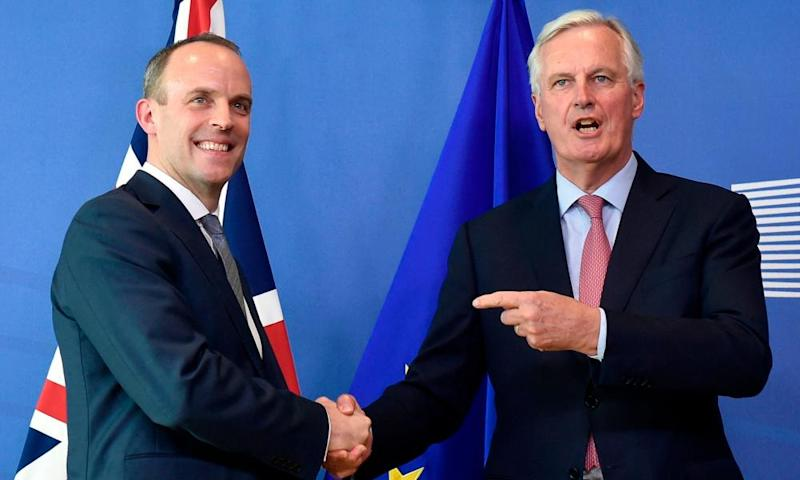 Brexit secretary Dominic Raab (left) and EU chief negotiator Michel Barnier meet at the European Commission in Brussels