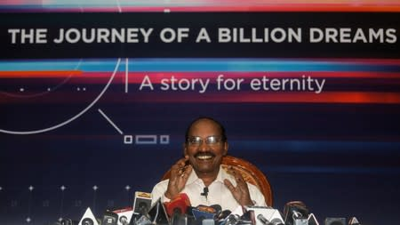 Kailasavadivoo Sivan, chairperson of the Indian Space Research Organization (ISRO), attends a news conference at its headquarters in Bengaluru