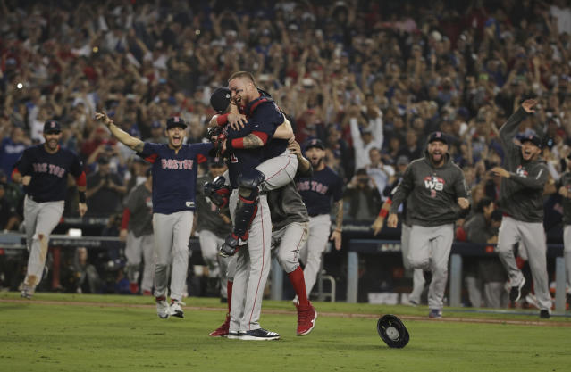 The Boston Red Sox celebrate after Game 5 of baseball's World Series against the Los Angeles Dodgers on Sunday, Oct. 28, 2018, in Los Angeles. The Red Sox won 5-1 to win the series 4 game to 1. (AP Photo/Jae C. Hong)