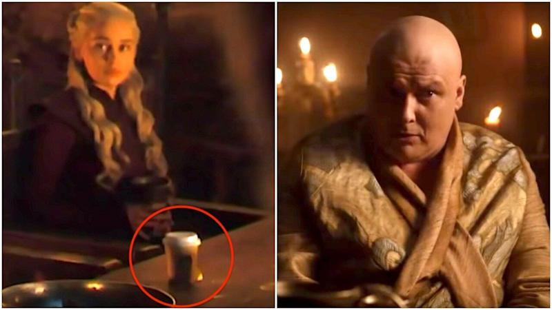 Did Varys leave the coffee cup in the shot? (Photo: Game of Thrones/HBO)