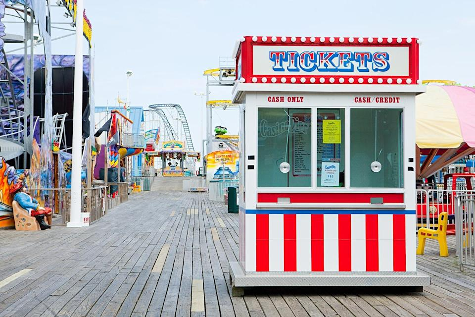 Ticket booth on boardwalk at seaside heights, new jersey