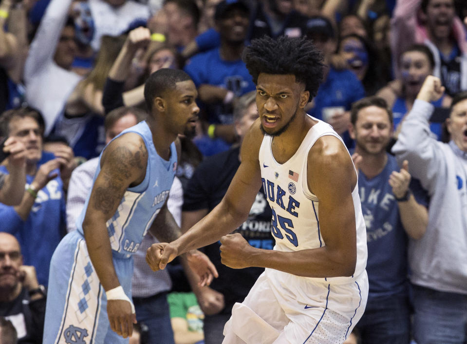 """The <a class=""""link rapid-noclick-resp"""" href=""""/nba/teams/sac"""" data-ylk=""""slk:Sacramento Kings"""">Sacramento Kings</a> have reportedly settled on drafting <a class=""""link rapid-noclick-resp"""" href=""""/ncaab/players/142114/"""" data-ylk=""""slk:Marvin Bagley III"""">Marvin Bagley III</a> with the No. 2 overall pick in Thursday's NBA draft — though most top prospects are openly avoiding the Kings. (AP Photo/Ben McKeown)"""