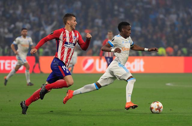Soccer Football - Europa League Final - Olympique de Marseille vs Atletico Madrid - Groupama Stadium, Lyon, France - May 16, 2018 Atletico Madrid's Lucas Hernandez in action with Marseille's Bouna Sarr REUTERS/Gonzalo Fuentes