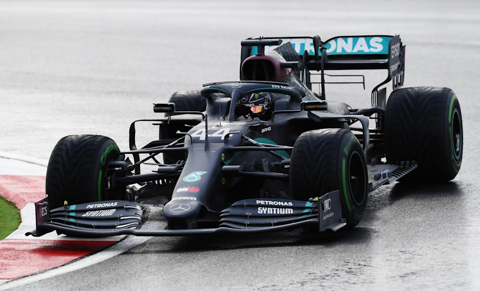 <em>Lewis Hamilton scored his 10th victory in 14 Formula One starts this season and the record 94th victory in 264 career starts (Clive Mason/Getty Images).</em>
