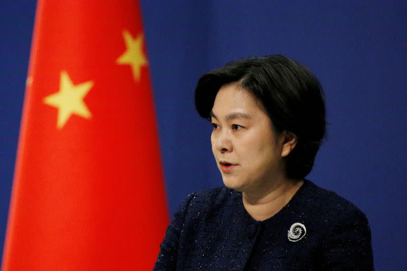 Chinese Foreign Ministry spokeswoman Hua Chunying attends a news conference in Beijing