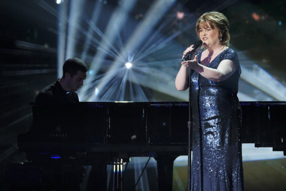 """AMERICA'S GOT TALENT: THE CHAMPIONS -- """"Champions One"""" Episode 101 -- Pictured: Susan Boyle -- (Photo by: Trae Patton/NBC/NBCU Photo Bank via Getty Images)"""