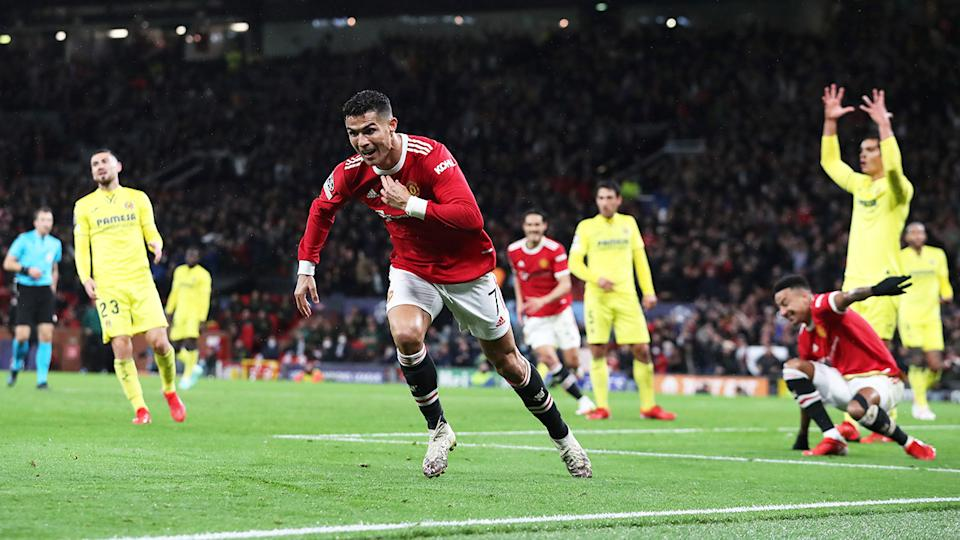 Cristiano Ronaldo, pictured here after scoring the winner for Manchester United.