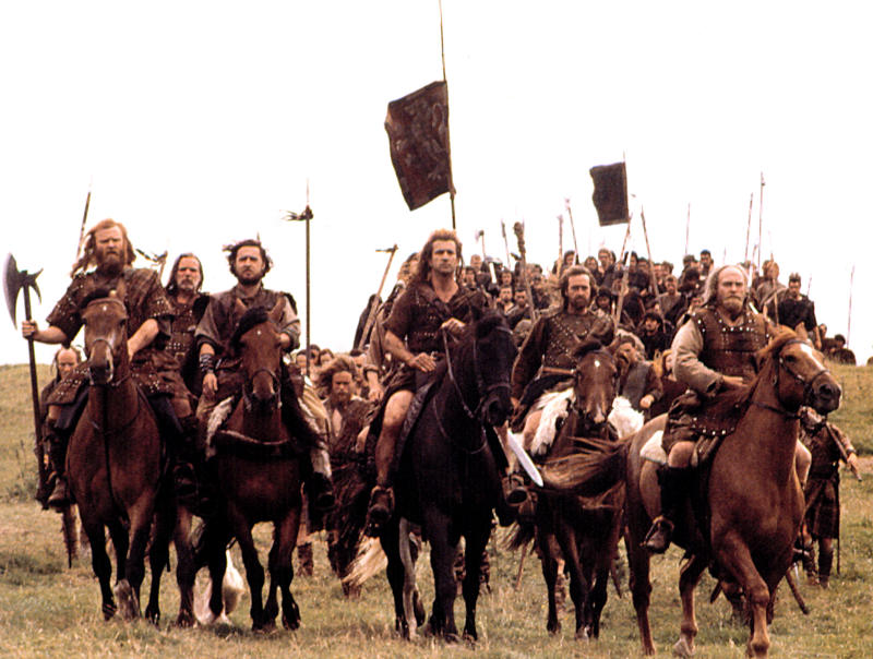William Wallace (Gibson) commands his sons of Scotland in 'Braveheart' (Photo: 20th Century Fox Film Corp. All rights reserved. Courtesy: Everett Collection.)