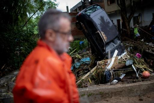 View of damaged cars following heavy rains during the weekend, in Taquara neighbourhood, in the suburbs of Rio de Janeiro, Brazil, on March 2, 2020