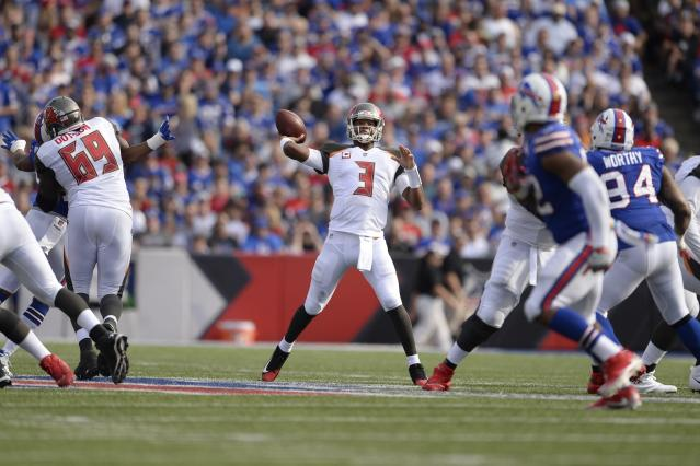 Jameis Winston (3) throws a pass during the second half of an NFL football game against the Buffalo Bills Sunday, Oct. 22, 2017, in Orchard Park, N.Y. (AP Photo/Adrian Kraus)
