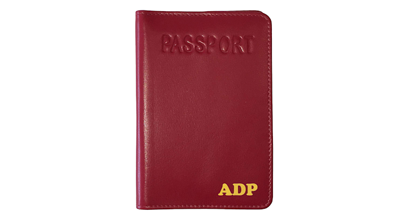 Personalized Monogrammed Red Leather Passport Holder (Credit: Amazon)
