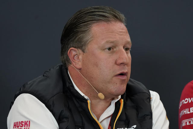 Zak Brown speaks during a news conference at the Formula One U.S. Grand Prix auto race at the Circuit of the Americas, Friday, Nov. 1, 2019, in Austin, Texas. (AP Photo/Chuck Burton)