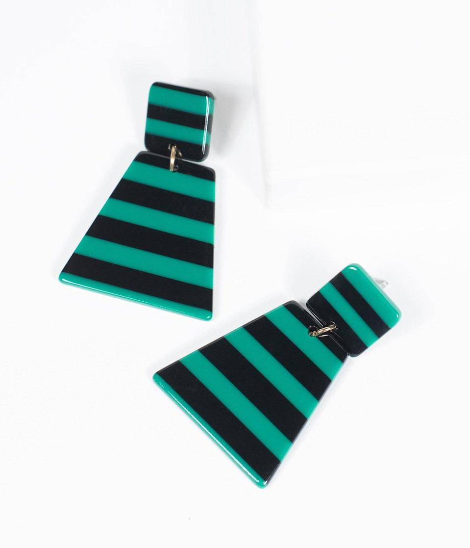 <p>The <span>Black and Green Stripe Resin Drop Earring</span> ($26) is a mix of creepy and cute. </p>