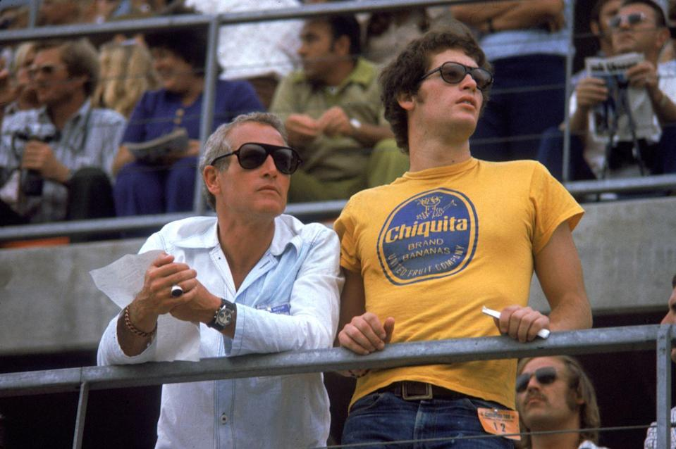 <p>Paul Newman and his son Scott attend the Ontario 500 car race in Ontario, California, in 1972. </p>