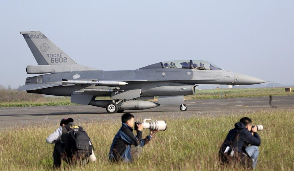 An F-16V fighter jet is seen during a military exercise in southern Taiwan in January. Photo: AP
