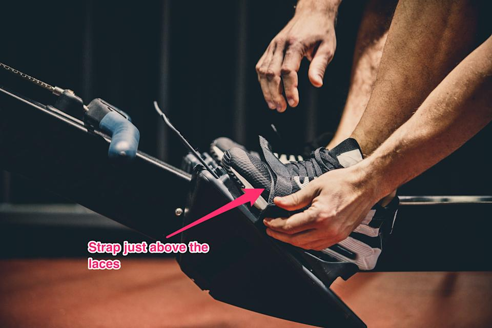 rowing machine foot strap placement