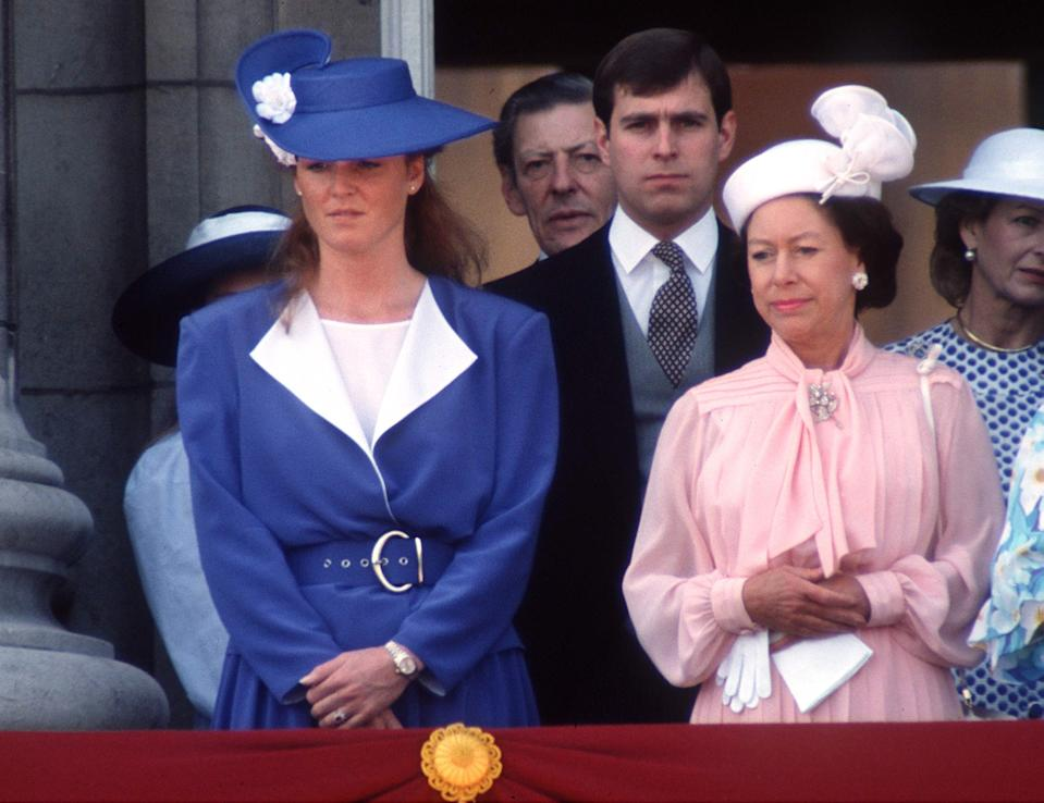 Princess Margaret and Sarah Ferguson at Trooping the Colour in 1988.