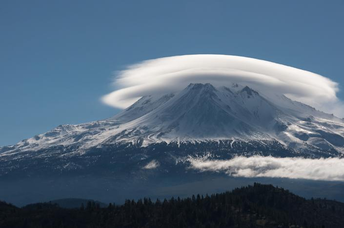 Lenticular cloud over Mt. Shasta, California.