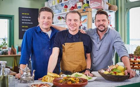 Chums: Jimmy Doherty, Simon Pegg and Jamie Oliver - Credit: Channel 4
