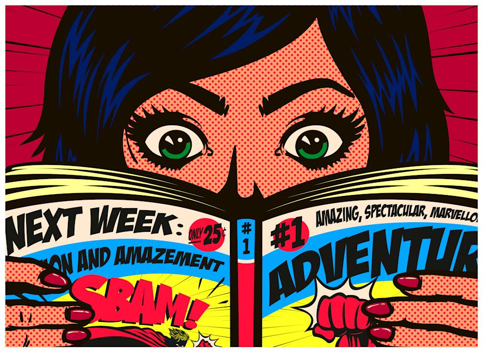 Pop art comics style excited girl having fun reading action comic book or adventure graphic novel vector illustration