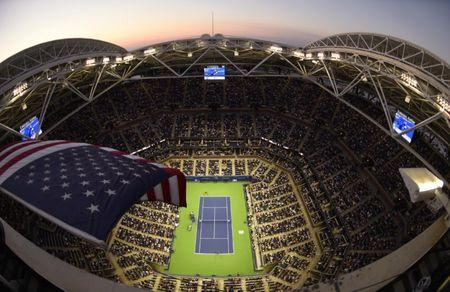 Sep 4, 2017; New York, NY, USA; A general view as an American flag waves in the wind over Arthur Ashe Stadium during the match between Roger Federer of Switzerland and Philipp Kohlschreiber of Germany on day eight of the U.S. Open tennis tournament at USTA Billie Jean King National Tennis Center. Mandatory Credit: Jerry Lai-USA TODAY Sports