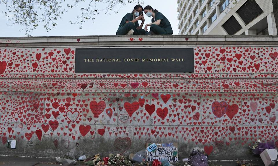 The memorial wall by the Thames in London.