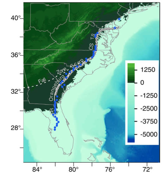 The East Coast shoreline as it appeared 3 million years ago. The shoreline has been adjusted 82 feet (25 meters) relative to today.