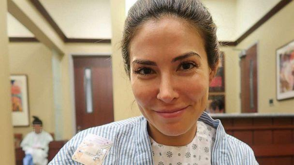 PHOTO: Bianca Jade, of New York City, is photographed in a hospital gown while undergoing egg freezing. (Courtesy Bianca Jade)
