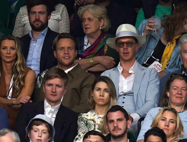 Olly Murs (left) and Benedict Cumberbatch watch play during the Ladies' singles match between Aryna Sabalenka and Ons Jabeur