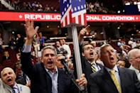 <p>Former Virginia Attorney General Ken Cuccinelli (2nd L) along with other delegates from Virginia chant for a rule call vote on the first day of the Republican National Convention on July 18, 2016 at the Quicken Loans Arena in Cleveland, Ohio. (John Moore/Getty Images)</p>