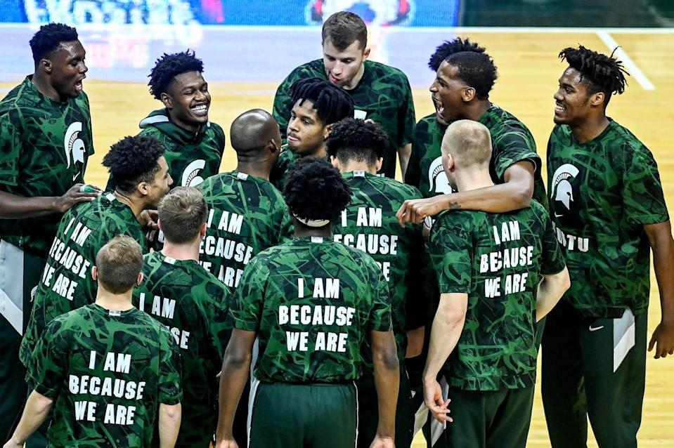 Michigan State huddles up before the game against Rutgers on Tuesday, Jan. 5, 2021, at the Breslin Center in East Lansing.