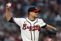 Atlanta Braves starting pitcher Charlie Morton (50) delivers in the first inning of a baseball game against the Philadelphia Phillies Tuesday, Sept. 28, 2021, in Atlanta. (AP Photo/John Bazemore)