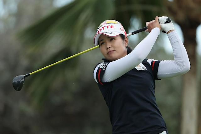 Su-Yeon Jang of Republic of Korea plays a tee shot on the18th hole during the second round of the LPGA Lotte Championship Presented By Hershey at Ko Olina Golf Club on April 13, 2017 in Kapolei, Hawaii (AFP Photo/Christian Petersen)
