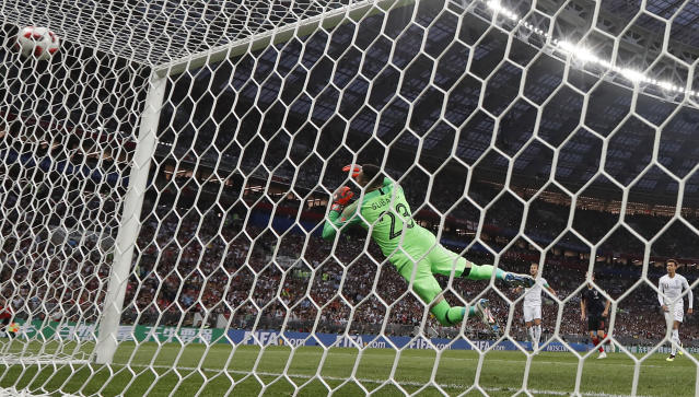 <p>Before dipping it under the crossbar and past Croatia goalkeeper Danjiel Subasic </p>