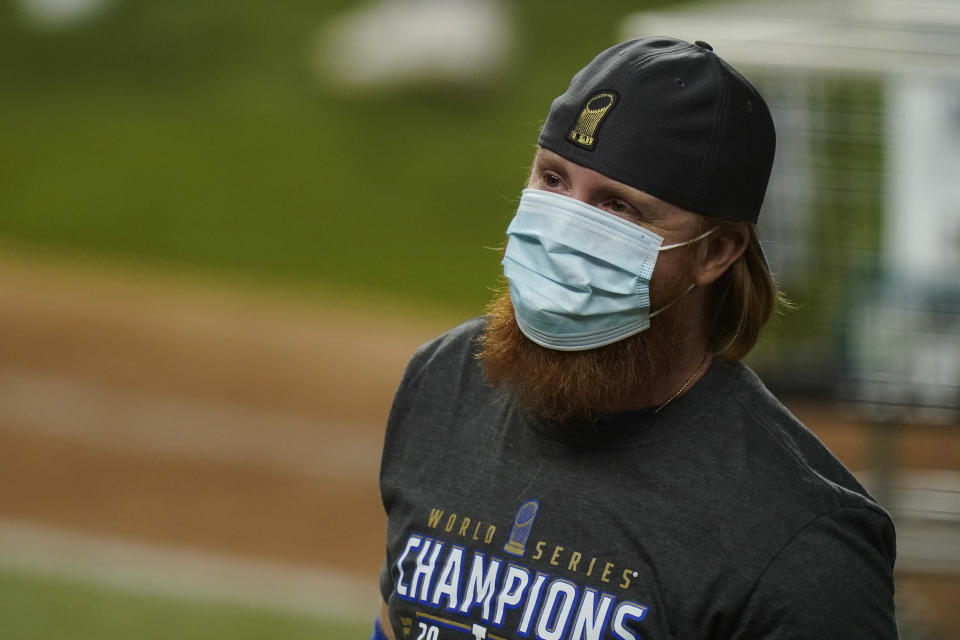 Los Angeles Dodgers third baseman Justin Turner celebrates after defeating the Tampa Bay Rays 3-1 to win the baseball World Series in Game 6 Tuesday, Oct. 27, 2020, in Arlington, Texas.(AP Photo/Eric Gay)