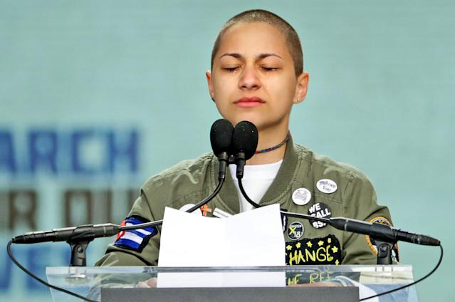Emma González addresses the March for Our Lives on Saturday. (Photo: Getty Images)