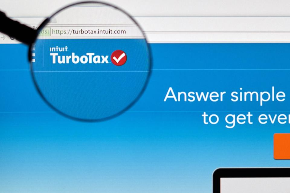 - Turbotax page under magnifying glass